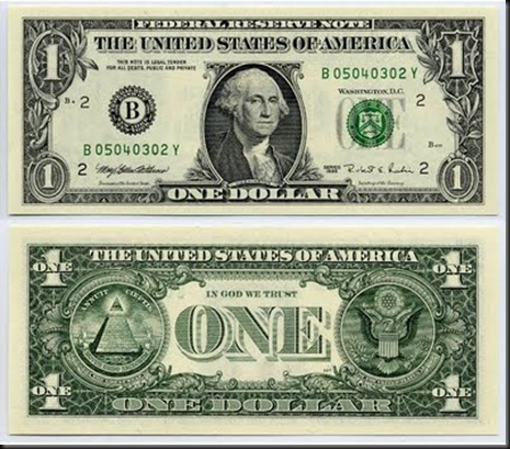 dollar bill, front and back