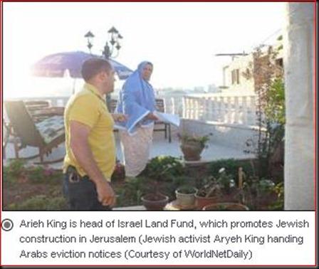 Jewish activist Aryeh King handing Arabs eviction notices