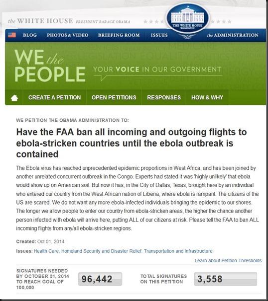 AAA ebola petition